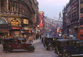 A 1949 Kodachrome of the West End of London.